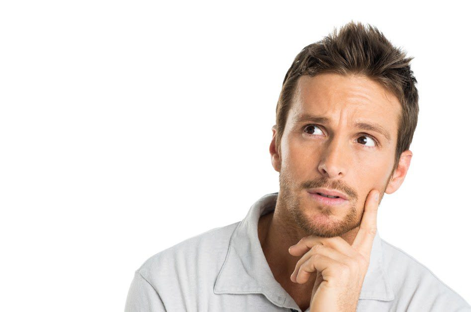 man thinking about dumpster rental